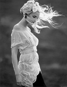 beautiful with the hair blowing in the wind