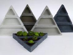 Concrete Succulent Planter Set Triangular by ConcreteProject