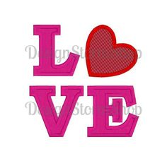 Love Heart Machine Embroidery Applique Design Digital Download Valentine's Day by DesignStormShop on Etsy