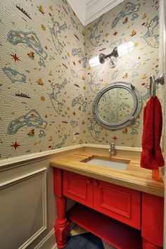 Not the colors, but butcher block counter is great.  Love the mirror.  traditional powder room by Echelon Custom Homes