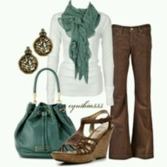 Brown pant outfit white top, have scarf and purse match in bold color