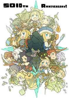 The very first Etrian Odyssey game released on this day, 10 years ago, for the Nintendo DS. Series character designer and illustrator Yuji Himukai shared a special illustration for the occasion. Kawaii Chibi, Anime Chibi, Anime Art, Cute Anime Character, Character Art, Etrian Odyssey, Cool Robots, Waifu Material, Cg Art