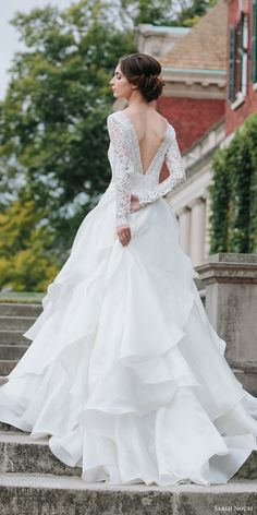 sareh nouri bridal fall 2016 long sleeves sweetheart illusion jewel neck a line ball gown wedding dress (mona lisa) bv vback train elegant romantic