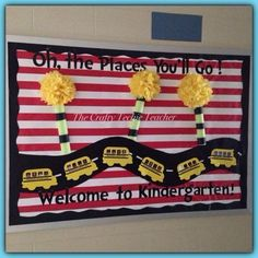 The Crafty Techie Teacher: Themes Dr. Seuss inspired Back to School bulletin board for bus numbers Dr Seuss Bulletin Board, Kindergarten Bulletin Boards, Teacher Bulletin Boards, Back To School Bulletin Boards, Kindergarten Classroom, Classroom Themes, Classroom Door, Classroom Projects, Future Classroom