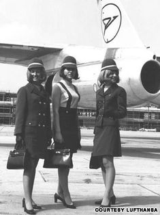 Germany's Condor Airlines' flight attendants in the 1970s. As bare skin became more socially acceptable, sleeves were often discarded. #aviationglamourstyle