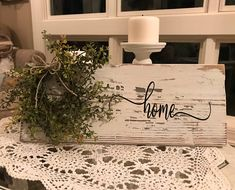 I just simply adore this sign...it is small sign. The sign is made of solid pine, painted and distressed to give it that vintage look! The signs are adorned with a sweet little wreath with a twine jute bow! Each piece we create is unique!!! Every piece of barn wood is sanded and