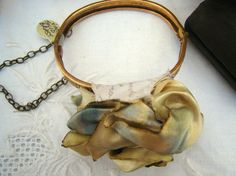 Hand-Dyed Vintage Fabric Flower Blossom Wrist Corsage Bracelet By Romantique (Hand-Dyed Vintage Fabric By Rough and Tumble Vintage)