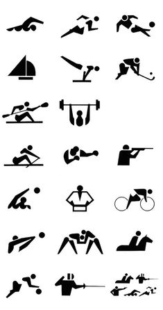 Funcion informativa Pictograms of the 1964 Tokyo Olympic Games by Katsumi Masaru. Japan Design, Olympic Icons, Olympic Logo, Olympic Games Sports, Olympic Gymnastics, Signage Design, Logo Design, Tokyo Olympics, 1964 Olympics