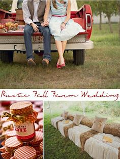 Rustic fall farm wedding--Covered hay bail chairs & Jars of jam for guests.