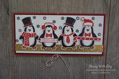 """Carte porte-chèque à rabat """"Famille pinguins"""""""