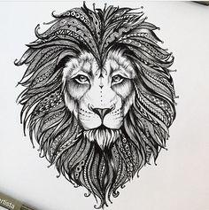 Tatuagem leão tribal