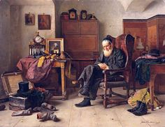 Isidor Kaufmann (Hungarian: Kaufman(n) Izidor, Hebrew: איזידור קאופמן) (Austro-Hungarian painter of Jewish themes) 1853 - 1921  The Antiquarian, 1880s  oil on panel
