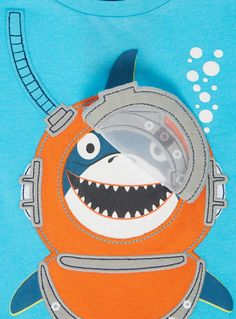 Add a contemporary finish to his casual collection with this snorkelling fish print t-shirt. Finished with a crew neck and short sleeves, this t-shirt will look great with denim.<br /><ul><li>Boys blue snorkelling shark t-shirt</li><li>Crew neck</li><li>Short sleeves</li><li>Soft material</li><li>Keep away from fire</li></ul>