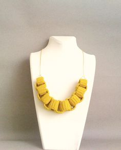 yellow crochet chain necklace