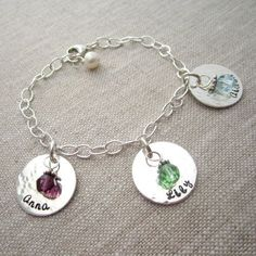 Personalized Charm Bracelet For Moms With Birthstones Great Gifts Mom Bracelets Mother