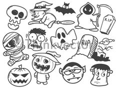 Halloween Cartoon Doodles - Think Vector Available for download on thinkvector.com for just $9.00. Search & download high quality clipart & stock vector in pocket friendly prices