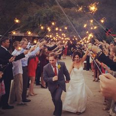 3 minute sparklers...magical get-away for bride and groom