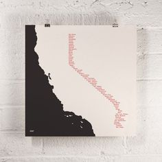 A 1960s Swiss typographic approach is taken in this design, with a list of all of California's counties aligned to create the eastern border of the state. Inks screen printed on French's Speckletone®