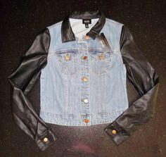 *NWT* Nicole Miller Faux Black Leather Blue Jean Jacket Size X-Small Jr's Small #NicoleMiller #JeanJacketFauxBlackLeather