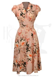ava tea dress in spring orient. 1940s Fashion Dresses, 1930s Fashion, Retro Fashion, Vintage Fashion, 1940s Inspired Fashion, Vintage Outfits, Vintage Style Dresses, Casual Dresses, Summer Dresses