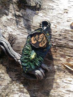 Gaia Pendant - Gaea Jewelry Necklace Greek Mythology Neo Paganism Pagan Esoteric Amulet Labradorite Spectrolite Wood Witchcraft Tree of Life