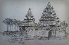 My pencil Sketch Mahabalipuram beach temple.