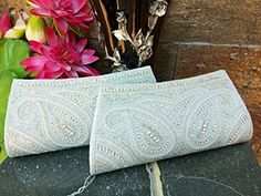Bridal Clutch ..Handmade Sequin Bridesmaid Gift Clutch Set of 2 ..Beaded Wedding Clutch Purse ..Handmade Thanksgiving / Christmas Gift ..silver white ..Made in India … - Bridal handbags (*Amazon Partner-Link)