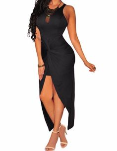 Black Knotted Slit Dress