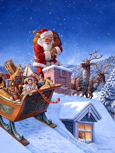 A Sleigh Full of Toys by Ruth Sanderson ~ Santa
