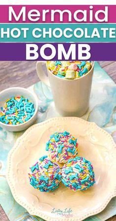 Mermaid Hot Chocolate Bombs Recipe Homemade Hot Chocolate, Chocolate Bomb, Melting Chocolate, Chocolate Covered, Unicorn Cookies, Mermaid Theme Birthday, Bombe Recipe, White Icing, Mini Marshmallows