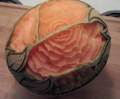 Carved Cantaloupe by Vegetable Fruit Carving student Pat O'Brien. Learn how to carve at www.vegetablefruitcarving.com
