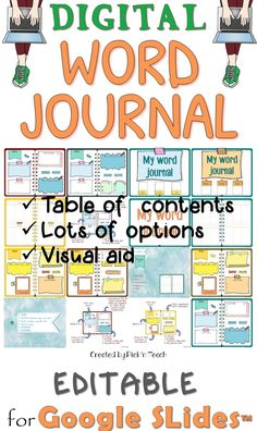 Do your students keep a DIGITAL word journal ? Table of contents Visual aid Lots of option EDITABLE Classroom Tools, Google Classroom, Classroom Ideas, Google Docs, Google Drive, Vocabulary Notebook, Early Elementary Resources, Digital Word, News Apps