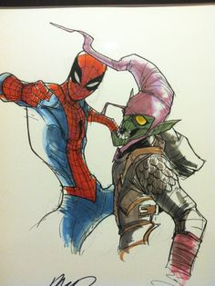 Humberto Ramos rough Pencils | Spider - Man vs Green Goblin (1 Comment)