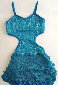Sequin Dance Costume Dress Leotard Girls Size Large Aqua Fringe Metallic