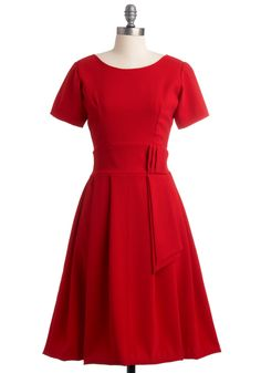 How Could You Nantes? Dress - Long, Red, Solid, Pleats, A-line, Short Sleeves, Wedding, Party, Vintage Inspired    Classic.