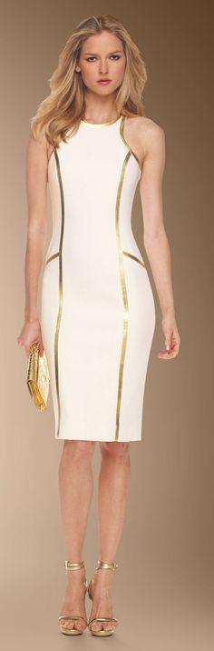 Women's fashion | White and gold Mickael Kors dress