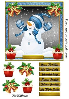 This Sheet includes a card front featuring a very cute Snowman in an adorable winter hat & mitts. This sheet is approx 7x7 & includes Decoupage & 7 sentiment tags, One blank. Sentiments read: Across The Miles, For Your Family, Happy Holidays, Seasons Greetings, Christmas Greetings & Joy Of The Season.
