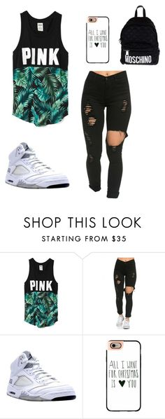 """Untitled #1100"" by august-baee ❤ liked on Polyvore featuring Victoria's Secret, NIKE, Casetify, Moschino, women's clothing, women, female, woman, misses and juniors"