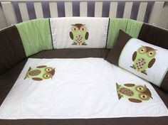Owl quilt set: Beautifully embroided cot set handmade from the best cottons. Neutral colours suitable for a boy or girl  Set includes: cot bumper, quilt, mini scatter and fitted sheet (made to fit mattress 1.3m X 66cm). www.facebook.com/borderboutique.co.za