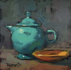 This is really my favorite teapot! I was really working to get the feeling of that round fiestaware teapot in this painting.   The turquois...