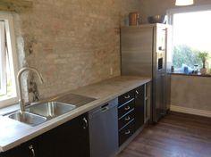 Beton køkkenbord med indstøbt vask