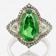 IVY New York. Old cut diamonds and tsavorite 5 carats. #green #tsavorite…