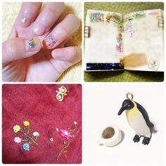 6/4.6/5ほぼ日❁ しまむらで数年前に100円で買ったスカートに刺繍してるの❀ フランフランで買ったペンギンさんにヒートンつけた(穴あけるの心が痛かった) 樹脂粘土で作ったカフェモカとあわせてなにか作る🤘🏻 . #ほぼ日もどき#ほぼ日手帳 #しろくまカフェ#刺繍#リメイク #セルフネイル
