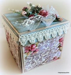 Filharmonicas kreative verden: Vintageutfordringen # 85 Scrapbook Box, Scrapbooking, Exploding Box Card, Kleenex Box, Decoupage Box, Fabric Toys, Pretty Box, Altered Boxes, Vintage Box