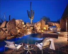 This interesting modern desert house, called Estancia fairway is located on the dry hot desert terrain of Scottsdale, Arizona. Backyard Pool Designs, Swimming Pool Designs, Backyard Landscaping, Landscaping Design, Backyard Pools, Swimming Pool Lights, Desert Homes, Scottsdale Arizona, Arizona Usa