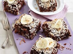 Dairy-free banana and coconut brownies.. Indulge in these decadent dairy-free banana and coconut brownies - little slices sent from heaven!