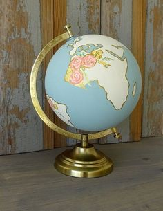 "Globe, Guestbook Globe, Custom Wedding, Nursery Decor Hand Painted Floral 8""…"
