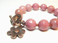 Large rhodonite beads bracelet  copper colored by LightcityLife, €12.50