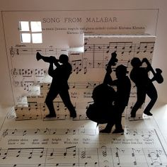 """A simple Pop-Up that is possible to make with children: the """"Jazz band"""" is a stair cut from an old score, you just follow the instruction..."""