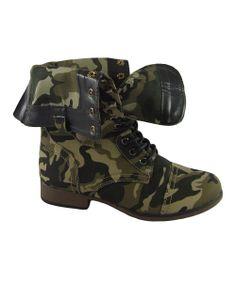 Green Camo Fold-Over Boot